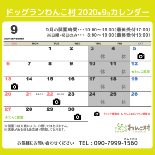 9月のカレンダーです